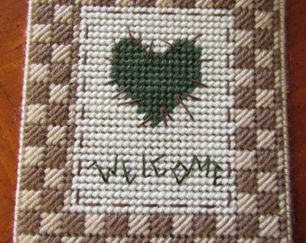 Patchwork Heart Welcome Sign