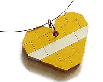 Lego Jewel, upcycled lego, yellow heart shape necklace pendant, recycled vintage Lego from the 1970s and 1980s.