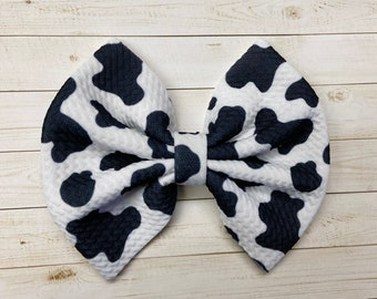 Cow Hair Clip Southern Bow for Girls in Cow Print Cow Hairbow for Toddlers Cow Bow for Girl Small Medium /& Large Big Cow Hair Bow