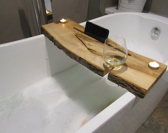 Live edge luxury bath caddy
