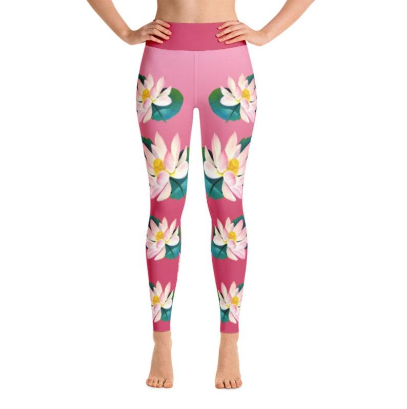 eeba43094f2456 Pink yoga leggings pink lotus yoga leggings yoga pants women | Etsy
