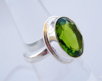 Green Quartz Ring, Faceted Gemstone Ring, Handmade Ring, Beautiful Ring Jewelry
