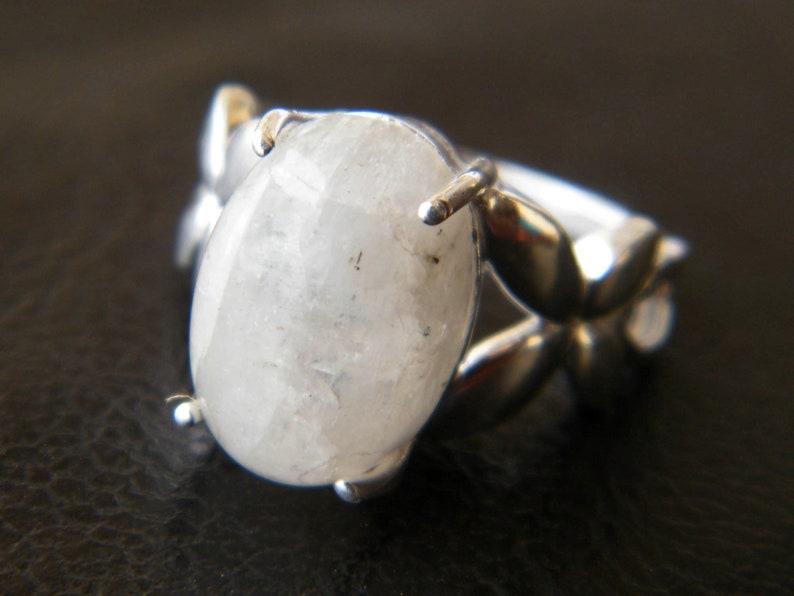 Fancy Rings Moonstone Minimalist Rings Rainbow Moonstone Ring Prong Setting Ring Birthday Gift Moonstone Jewelry Statement Rings