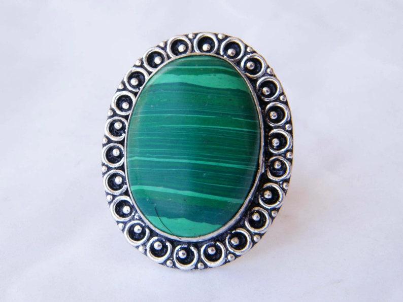 Malachite Ring Beautiful Ring Statement Ring Boho Ring Silver Plated Ring Statement Ring Swirls Designer Handmade Ring