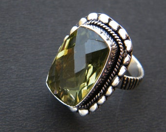 Green Quartz Ring - Faceted Gemstone Ring - Handmade Ring