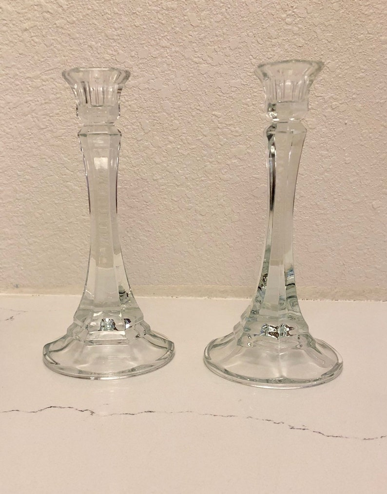 Pair of glass candlestick holders