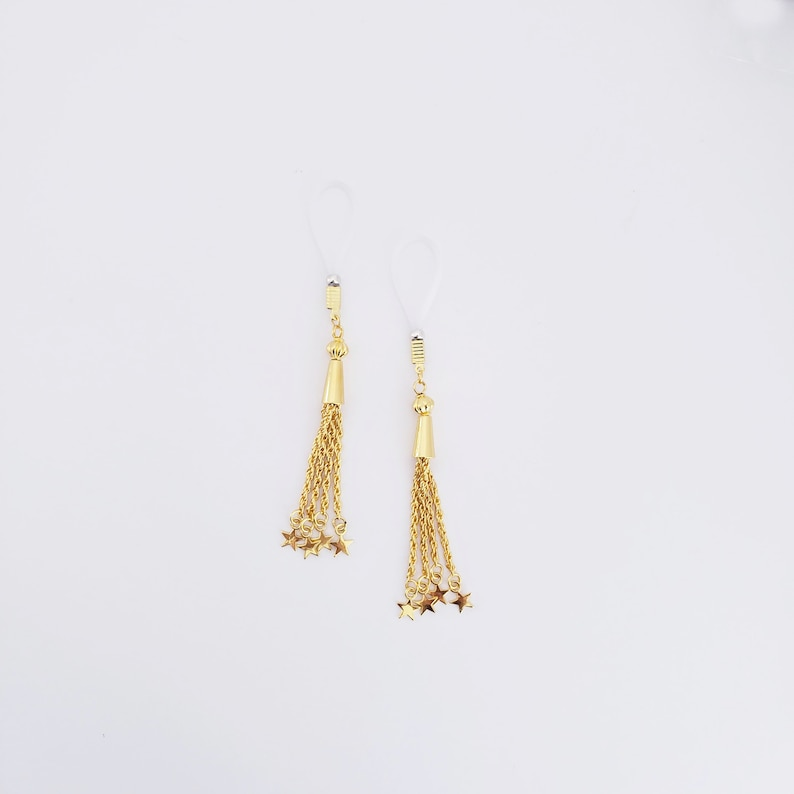MATURE Jewelry Gold Star Nipple Dangles with Non Piercing Nipple Nooses or Nipple Clamps