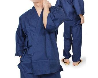vintage sz Large Japanese Blue Cotton Samue Hippari Jinbei Hanten Monk Short Kimono Jacket Noragi Haori Peasant Boro 250121-06