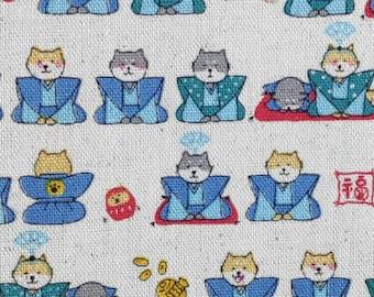 Cute Japanese Cotton canvas fabric. Shiba inu dogs in kimono. 110cm width