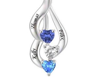 Trio personalized stylish hearts pendant