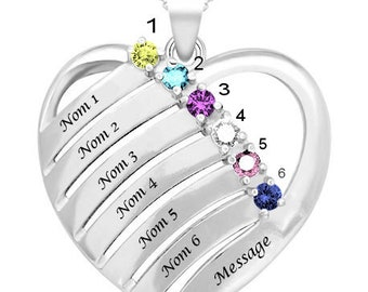 Family heart personalized pendant