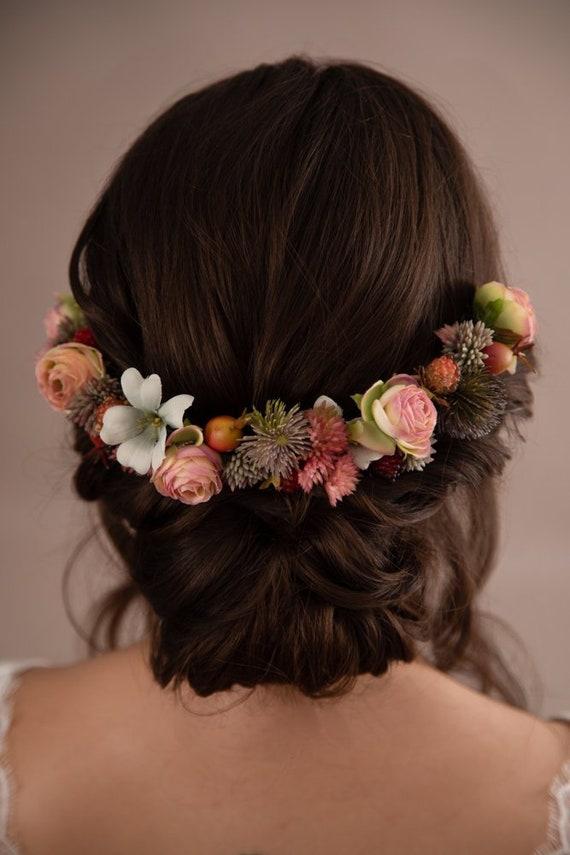 Wild flower wreath Kids Baby bouquet Flower Girl Headband Bride crown Bridesmaids headpiece Wedding Rustic hair accessory Artificial flowers