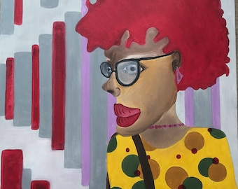 City Girl,     Oil on canvas, bright colors, one of a kind, unique artwork