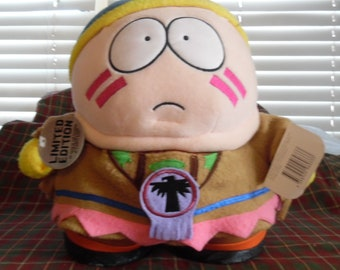 """Rare 1998 Comedy Central South Park 11"""" Cartman Indian used plush soft toy"""