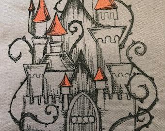 Fairy tale themed cushion Fairy tale castle