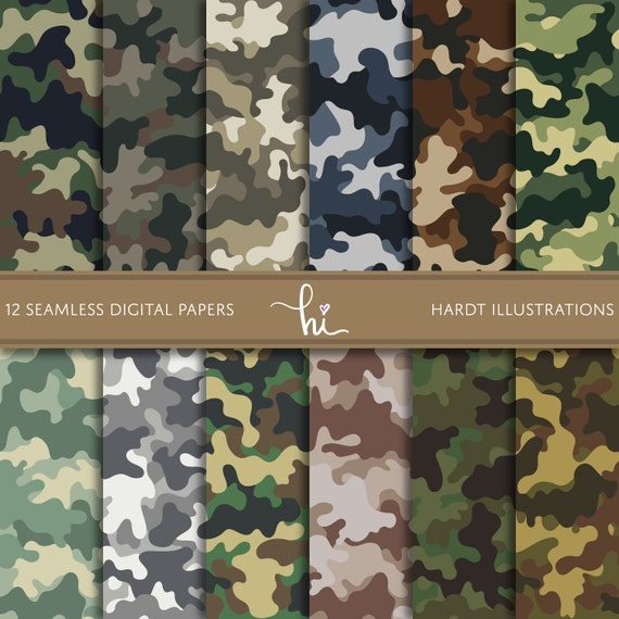 Camouflage Digital Paper Camo Digital Paper Army Pattern Etsy Delectable Army Pattern