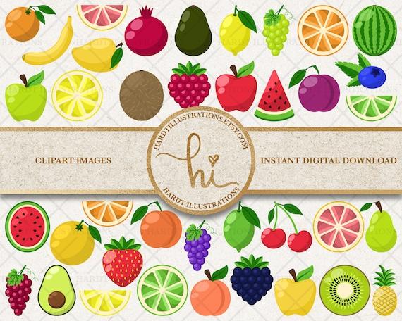 Fruit Clipart Fruits Clip Art Citrus Tutti Frutti Raspberry Etsy