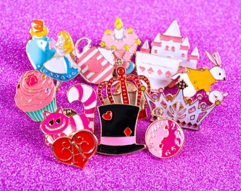 Alice In Wonderland pin badges