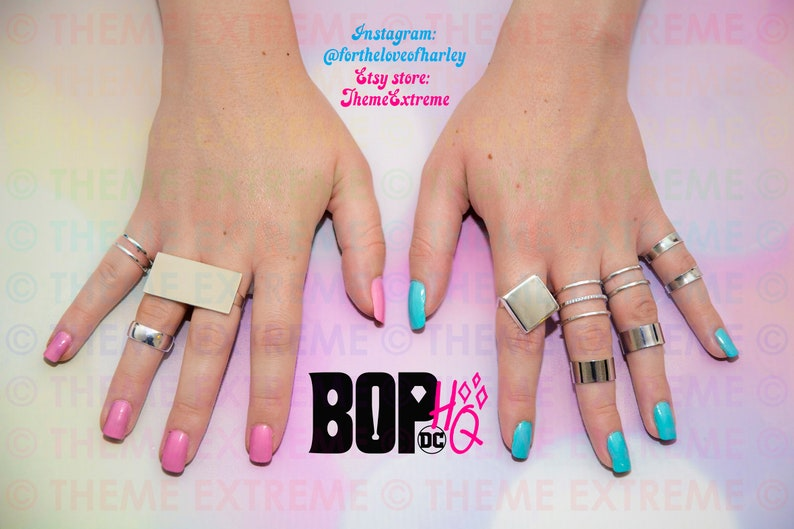 Harley Quinn Birds Of Prey BOP Silver Rings Set For Cosplay image 0
