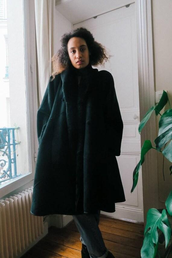 Vintage black leather coat, leather coat, vintage