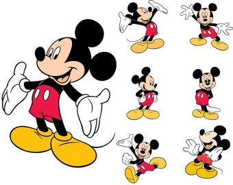Mickey Mouse SVG, Mickey Mouse Clipart, Minnie Mouse SVG, Pluto SVG, Disney Character, Vector, Cliparts Eps, png, pdf, svg, Digital Download