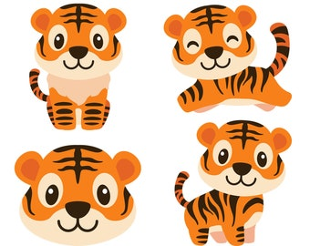 13343d173 Tiger SVG, Cartoon Tiger Svg, Animal Svg, Cute Baby Tiger, Clipart, Vector,  Cut File, Eps, Png, Pdf, Svg