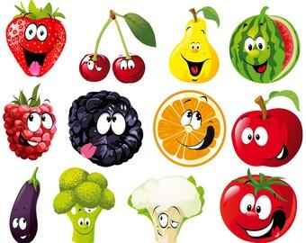 Cartoon Fruits Vegetables Expression SVG Bundle, Face, Vector, Cliparts Eps, png, pdf