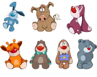 Cartoon Lovely Animals SVG, Baby Animals, Cute Animals, Nursery, zoo, Vector, Cliparts Eps, png, pdf, svg