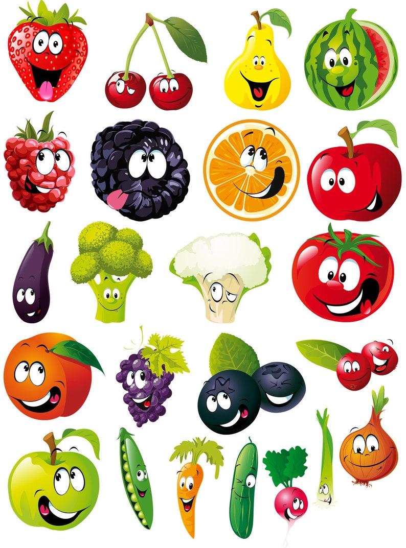 Cartoon Fruits Vegetables Expression SVG Bundle Face ...