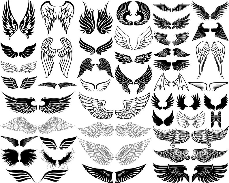 Wings SVG Wings Silhouette Angel Wings Wings Cut File image 0