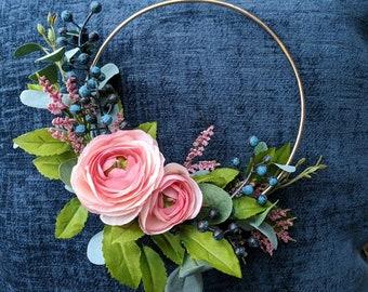 Pink and blue etsy modern floral pink and blue hoop wreath minimalist wreath nursery wreath wedding decor table centerpieces milestone blanket wreath mightylinksfo