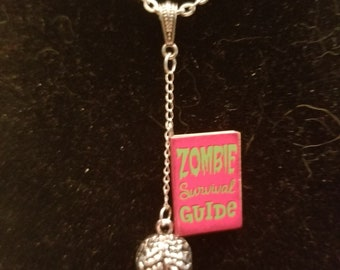 Cute Zombie necklace - Brains - Zombie Survival Guide - Halloween - Goth - Fun