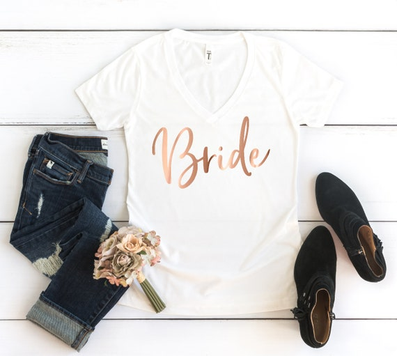 Bride Women/'s V-Neck Bride Team Maid of Honor Bridal Party Bachelor Charcoal Tee