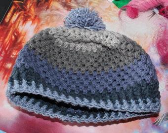 Puff Stitch Adult Crochet Beanie with pompom