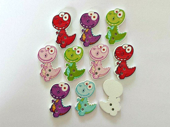 10 x CUTE  DINOSAUR BUTTONS 28 x 20mm SAME DAY **FREE**  POSTAGE