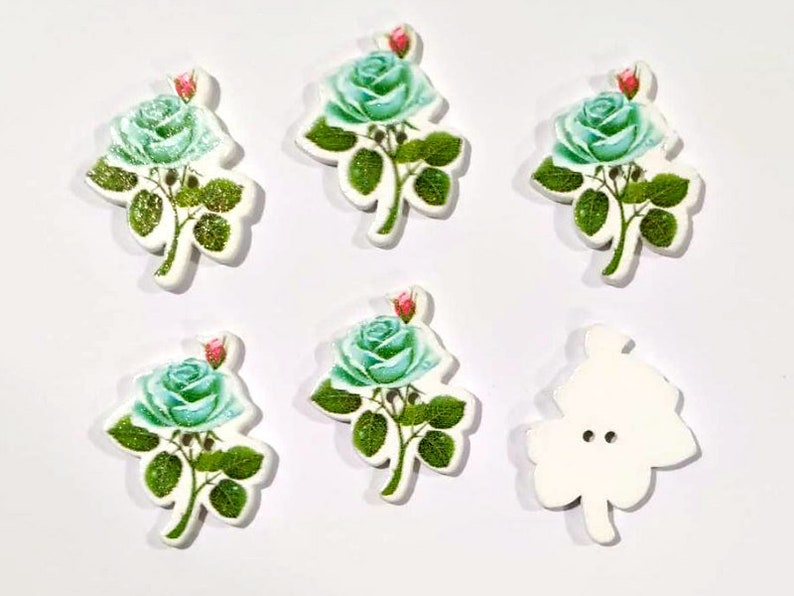 Flower Buttons Wooden Buttons Embellishments Sewing buttons 6 Pastel Turquoise Rose Buttons #WSB0123