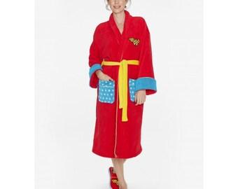 2ae910d412 Wonder Woman DC Comics Retro Red Hoodless Robe Bathrobe - Housecoat One Size