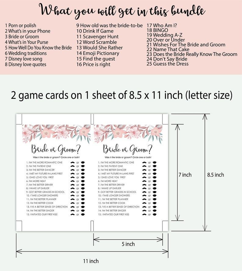 Bachelorette Party How Well Do You Know the Bride Games Bachelorette Party games Bridal Shower Games Wedding A-Z Bridal shower games