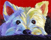 White Puppy Paint by Number Kits, Animal Cute Dog DIY Kit Painting on canvas Home decor wall art for adult DIY Painting Gift 16 20 quot