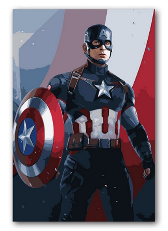 Captain America DIY Kit Painting The Avengers painting on canvas paint Craft DIY Gift Painting idea Paint by Number Kit