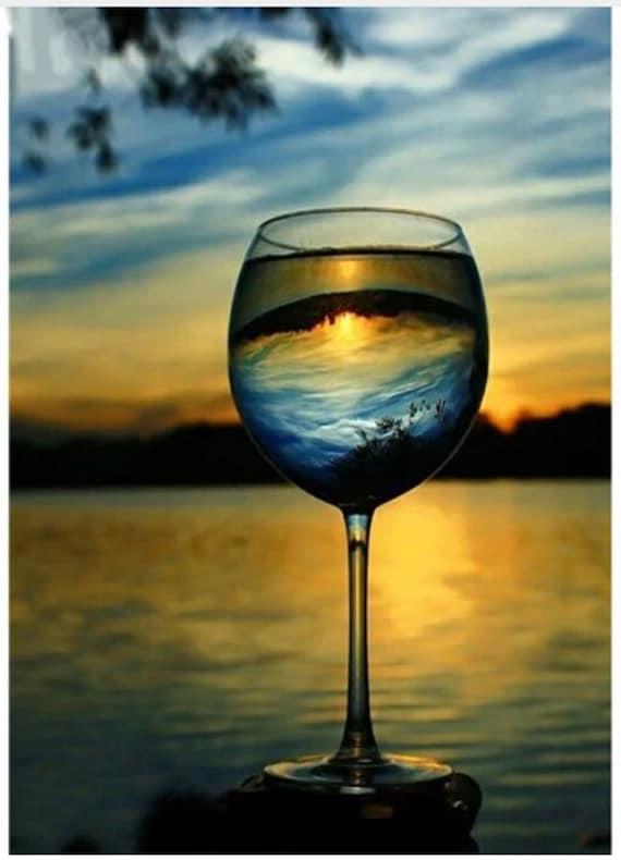 Landscape Paint By Number Kit Wine Glass Seascape Diy Kit Etsy