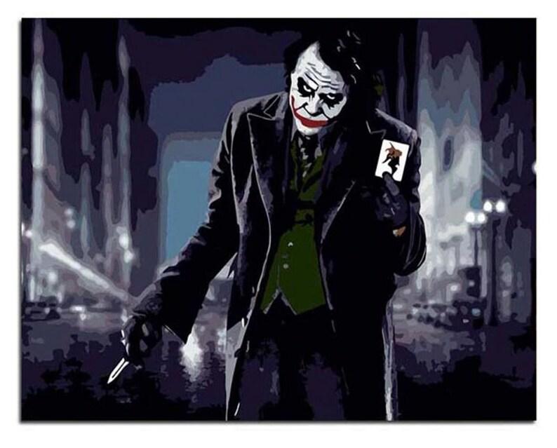 Paint by Number Kit Joker The Dark Knight decor wall art Movie star portrait Craft Gift 16*20 Batman DIY Kit Painting on canvas Art