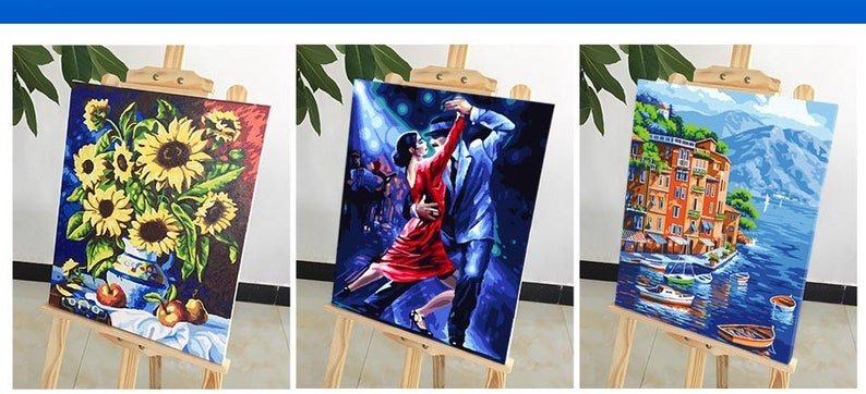 Paint by Number Kit dog painting canvas 16*20 Dog DIY Kit Painting animal on canvas wall art for adult DIY Painting Gift Pet Portrait