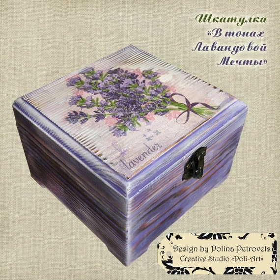 Lavender decor Jewelry storage box Decoupage box Box Violet Purple chest Wedding wishes box Decoupage furniture Wooden decoupage Provence