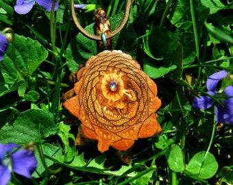 Simple Medium Pinecone Heart Pendant with swarovski crystal