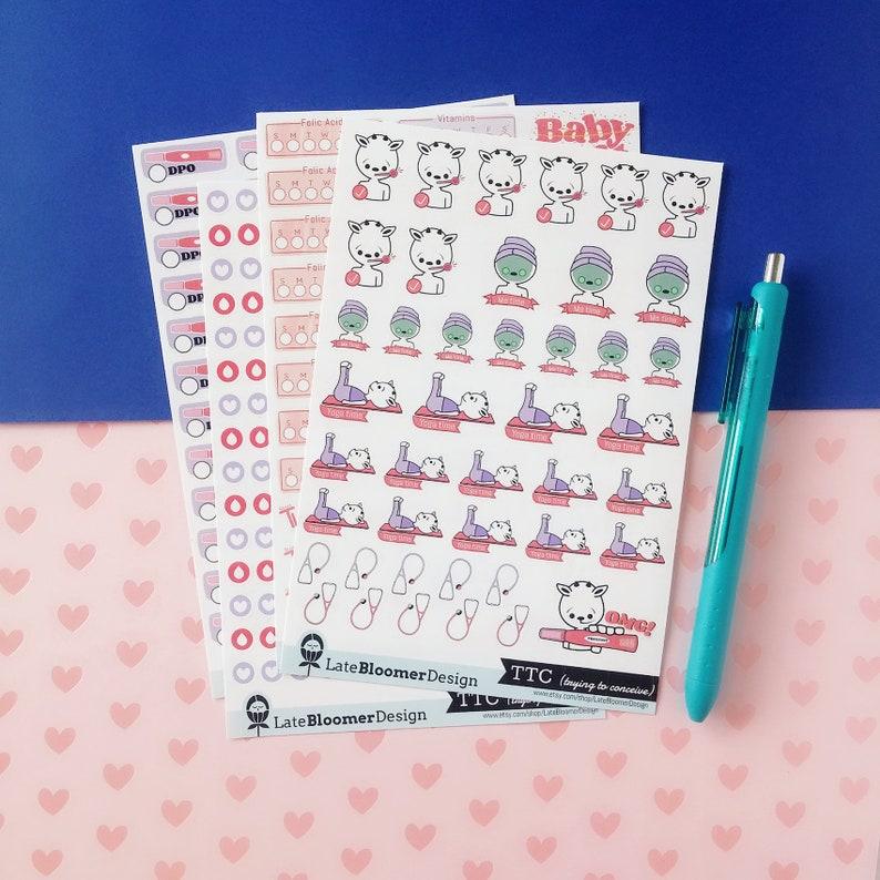 Trying to conceive sticker kit/DPO stickers/Vitamins tracker/Period  icons/BFP/Me time/Happy planner/Erin Condren/TN planner/Kikki k/Filofax