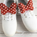 Shoe Accessory - Minnie Bow Distressed Red Dots