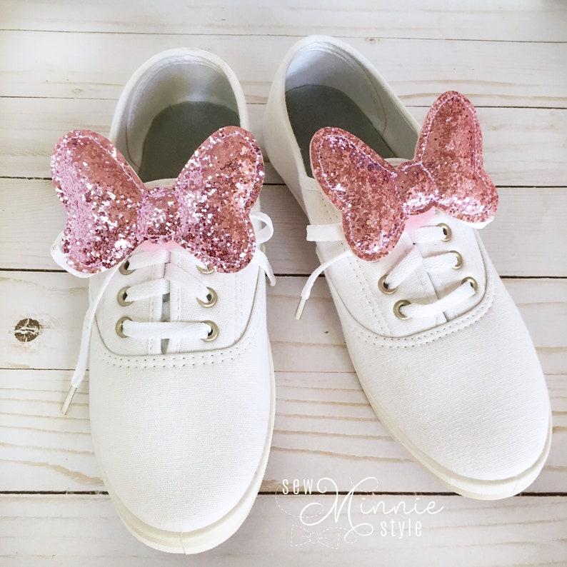 09f810fd7e008 Shoe Accessory - Minnie Bow Blush Pink Glitter