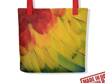 Red Yellow Green Feathers Print Tote Bag, Scarlet Macaw Print Tote, Bird Print Hand Bag, Feather Eco Bag, Wings Book Bag, Summer mode Bag