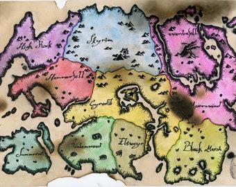 Elder scrolls map   Etsy
